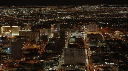 neon lights : Aerial view over the city of Las Vegas by night - USA 2017