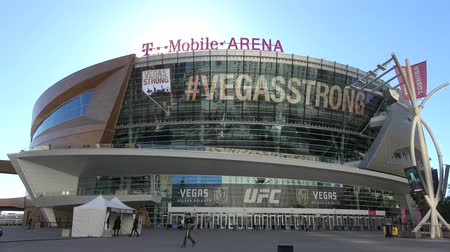 фонтан : T-Mobile Arena in Las Vegas at Toshiba Plaza - USA 2017 Стоковые видеозаписи