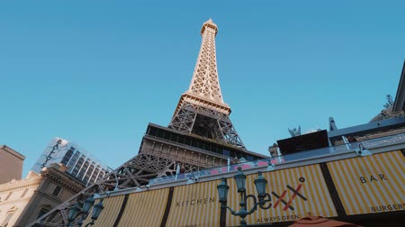 neon lights : The Eiffel Tower at Paris Las Vegas Hotel and Casino - USA 2017