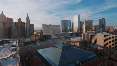 blackjack : Aerial view over the modern Hotels at Las Vegas strip - USA 2017 Stock Footage