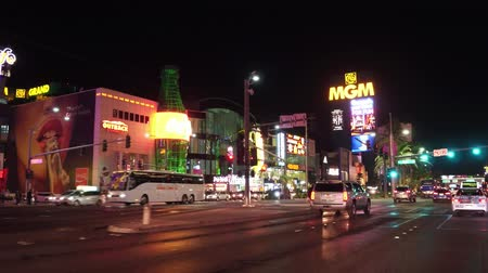 ace : Driving on the Las Vegas strip at night - the amazing hotels and casinos - USA 2017 Stock Footage