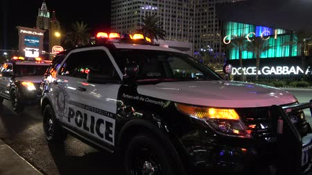 blackjack : Las Vegas Police Car at the strip by night - USA 2017 Stock Footage