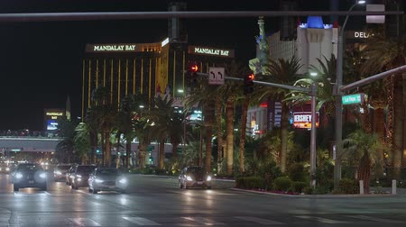 blackjack : Famous Las Vegas Boulevard at night also called the Strip - USA 2017