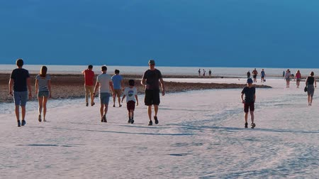 great indian desert : Walking on the famous Badwater Salt Lake at Death Valley - USA 2017