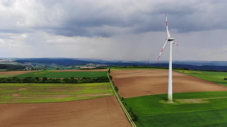 clean electricity production : Clean ecofriendly energy - wind power plants - aerial view from a drone flight