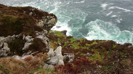 kerry : Wild Ocean water at the Fogher Cliffs in Ireland Stock Footage