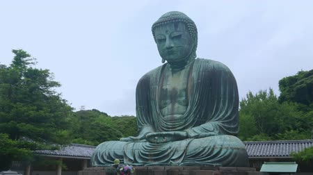 japão : Famous Great Buddha in Kamakura Daibutsu Temple - TOKYO  JAPAN - JUNE 12, 2018 Stock Footage