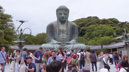 religions : Most famous landmark in Kamakura - The Great Buddha Daibutsu - TOKYO  JAPAN - JUNE 12, 2018 Stock Footage