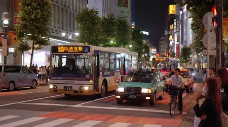 shinto : Shibuya street view at night - a busy district in Tokyo- TOKYO  JAPAN - JUNE 12, 2018 Stock Footage