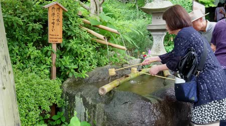 náboženství : Ritual purification fountain at an Japanese Temple - TOKYO  JAPAN - JUNE 12, 2018