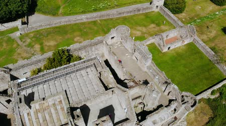 lakes of scotland : Famous Castles in Scotland - Cragmillar Castle in Edinburgh - aerial view Stock Footage