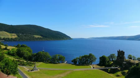 lakes of scotland : Urquhart Castle at Loch Ness in the Scottish Highlands - aerial view