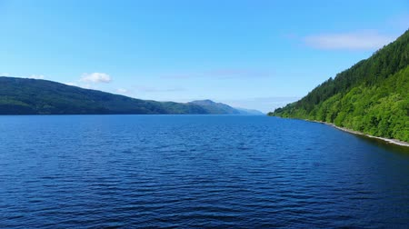 lakes of scotland : Flight over Loch Ness - the most famous lake in Scotland