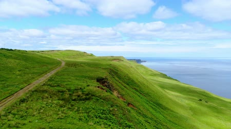 İskoçyalı : Flight over the green coastline and cliffs on the Isle of Skye in Scotland