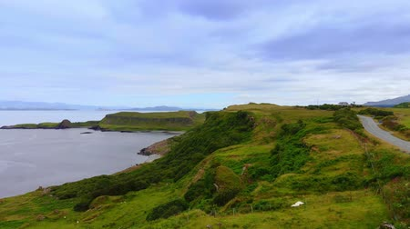 lakes of scotland : The coastline and cliffs on the Isle of Skye in Scotland Stock Footage