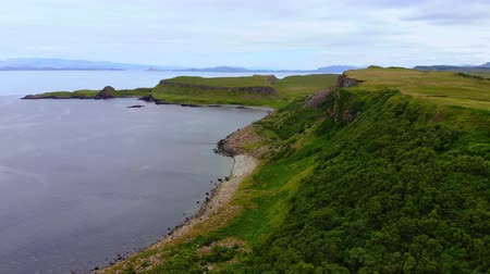 lakes of scotland : Aerial drone footage on the Isle of Skye in the Highlands of Scotland