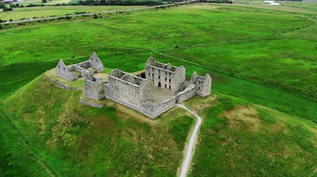 lakes of scotland : Flight over the Ruthven Barracks in Kingussie Scotland - Cairngorms National Park Stock Footage