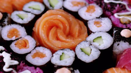 roll up : Big Sushi selection on a plate Stock Footage