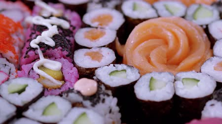 эксклюзивный : Selection of Sushi and Japanese food Стоковые видеозаписи