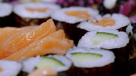 roll up : Fresh Sushi rolls- close up shot Stock Footage