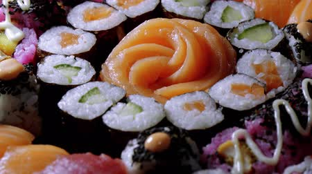 sushirestaurant : Close up shot of fresh Sushi on a plate Stock Footage