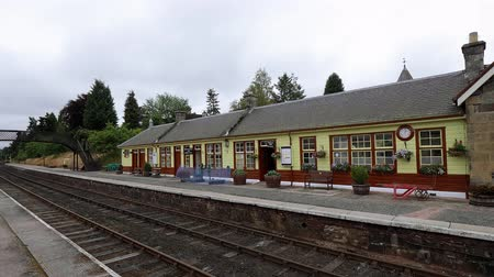 İskoçyalı : Small train station in the Highlands of Scotland for the Speyside Stream train Stok Video
