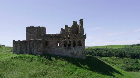 lakes of scotland : Ruin of Crichton Castle - a famous landmark near Edinburgh Stock Footage