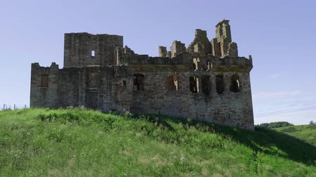great britain : Ruin of Crichton Castle - a famous landmark near Edinburgh Stock Footage