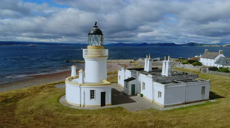 bretanha : Cromarty Lighthouse at Cromarty Firth in the Scotland - aerial view