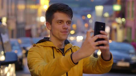selfie girl : Young guy takes a selfie