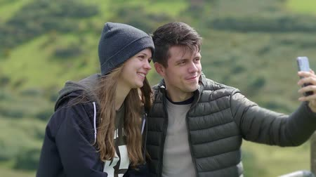 kerry : Young couple in love takes selfies Stock Footage