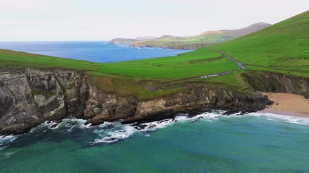 西 : Flight over typical Irish west coast at Dingle Peninsula 動画素材