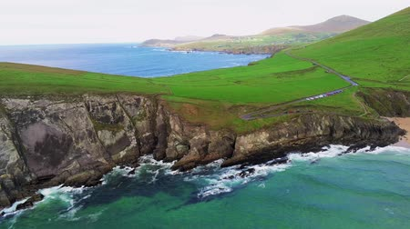 kerry : Flight over typical Irish west coast at Dingle Peninsula Stock Footage