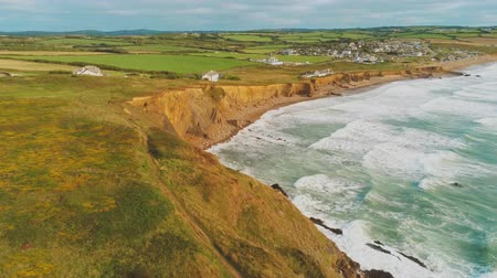 anglia : Aerial view over the coastline in Cornwall