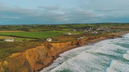 język angielski : Wonderful landscape of the coast of Cornwall at the Celtic Sea - aerial drone flight