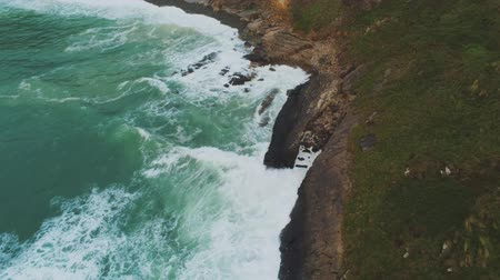 kenar : Flight over the rocky coast of Cornwall in England - amazing landscape