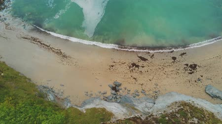 английский парк : Beautiful sandy beach from above - aerial drone footage Стоковые видеозаписи