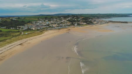 английский парк : Flight over the Beach of Marazion in Cornwall Стоковые видеозаписи