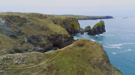 venkovský : Wonderful landscape of the coast of Cornwall at the Celtic Sea - aerial drone flight