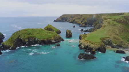 kenar : Wonderful landscape of the coast of Cornwall at the Celtic Sea - aerial drone flight