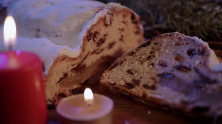 amandel : Christmas stollen the famous Christmas cake for holidays Stockvideo