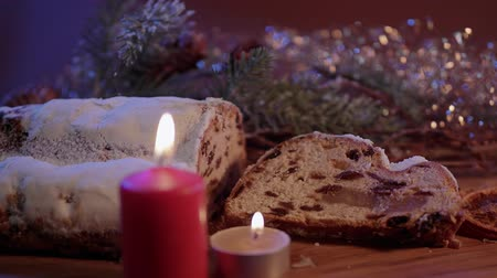powdered : Close up shot of Christmas stollen