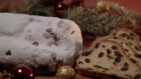 anason : Christmas stollen the famous Christmas cake for holidays Stok Video
