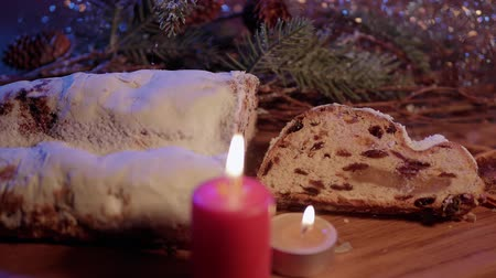 изюм : Fresh from the Christmas bakery - the traditional stollen Стоковые видеозаписи