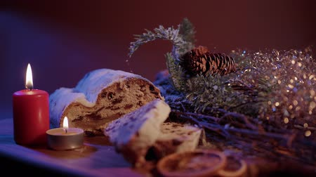 rodzynki : Christmas stollen the famous Christmas cake for holidays Wideo