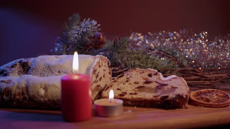 anason : Fresh from the Christmas bakery - the traditional stollen Stok Video