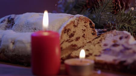 レーズン : Christmas stollen the famous Christmas cake for holidays 動画素材