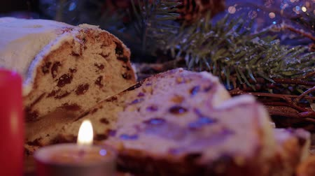 christmas background : Baked Stollen a German specialty for Christmas
