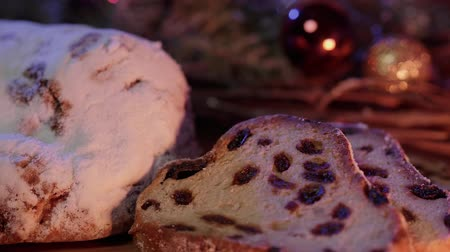 pişmiş : Christmas stollen the famous Christmas cake for holidays Stok Video
