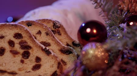 pişmiş : Traditional Christmas stollen - the famous cake for XMas Stok Video